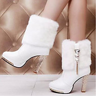 Women's Shoes Horse Hair Spring Fall Comfort Boots For Casual Black White