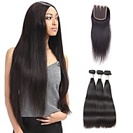 cabelo humano cabelo de cor natural brasileira tece extensões de cabelo liso 4 peças pretas