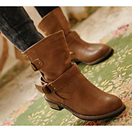 Women's Shoes PU Nappa Leather Fall Winter Fashion Boots Combat Boots Boots Flat Heel Booties/Ankle Boots For Casual Brown Black