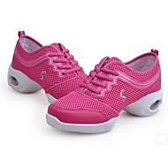 Women's Dance Sneakers PU Heel Practice Platform Fuchsia Black/Gold Black/Red