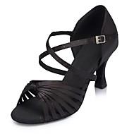 baratos Sapatilhas de Dança-Mulheres Sapatos de Dança Latina Cetim Cruzado Salto Cubano Personalizável Sapatos de Dança Preto / Vermelho / Amêndoa / Espetáculo / Couro