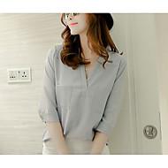 V-hals Dame - Ensfarvet Bluse Polyester