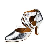 baratos Sapatilhas de Dança-Mulheres Sapatos de Dança Latina Couro Sandália Presilha / Cruzado Salto Cubano Personalizável Sapatos de Dança Prata / Espetáculo
