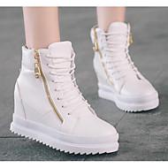Dames Schoenen Ademend Gaas PU Herfst Winter Comfortabel Sneakers Blokhak Korte laarsjes/Enkellaarsjes Voor Causaal Wit Zwart