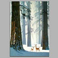 cheap Oil Paintings-Hand-Painted Cartoon Vertical, Artistic Nature Inspired Cartoon Cool Christmas New Year's Canvas Oil Painting Home Decoration One Panel
