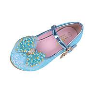 女の子 靴 スパークリンググリッター 春 秋 コンフォートシューズ アイデア フラット リボン パール ベックル 用途 結婚式 ドレスシューズ パープル ブルー ピンク