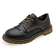 Kadın Ayakkabı PU Sonbahar Rahat Oxford Modeli Düşük Topuk Yuvarlak Uçlu Bağcıklı Uyumluluk Günlük Siyah Kahverengi