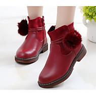 billige -60%-Jente sko Kunstlær Høst Vinter Komfort Trendy støvler Støvler Til Avslappet Svart Lysegul Rød