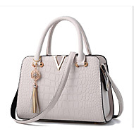 Women Bags All Seasons PU Tote Zipper for Casual White Black Blushing Pink