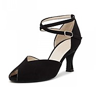 cheap Dancewear & Dance Shoes-Women's Latin Artificial Leather Leatherette Heel Performance Black Customizable