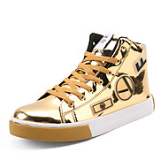 Men's Shoes Patent Leather Spring Fall Comfort Sneakers Mid-Calf Boots Flower For Casual Party & Evening Silver Black Gold