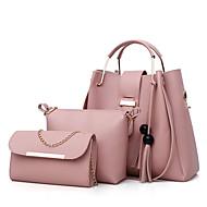 Γυναικείο Τσάντες PU Σετ τσάντα 3 σετ Σετ τσαντών Φούντα για Ψώνια Causal Όλες τις εποχές Άνοιξη Μαύρο Ρουμπίνι Ανθισμένο Ροζ Γκρίζο Καφέ