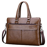 Men Bags PU Briefcase Zipper for Outdoor Office & Career All Seasons Black Brown Khaki