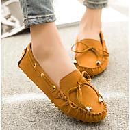 Feminino Sapatos Pele Nobuck Primavera Outono Conforto Mocassins e Slip-Ons Para Casual Preto Amarelo Fúcsia Verde Tropa