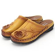 Dames Schoenen Leer Lente Herfst Comfortabel Klompen & Muiltjes Voor Causaal Zwart Grijs Geel