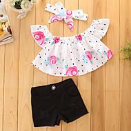 Pige Tøjsæt Ensfarvet, Bomuld Polyester Sommer Kortærmet Blomster Pænt tøj Sort