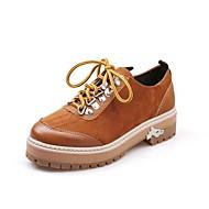 Naiset Kengät Kashmir Syksy Comfort Oxford-kengät Pyöreä kärkinen Säärisaappaat Solmittavat Käyttötarkoitus Kausaliteetti Musta Ruskea