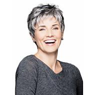 halpa -Naisten Synteettiset peruukit Suojuksettomat Lyhyt Suora Musta / Harmaa Raidoitetut hiukset Sivuosa Kerroksittainen leikkaus Luonnollinen