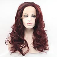 Kvinder Syntetiske parykker Blonde Front Lang Naturligt, bølget hår Mørk Rødbrun Natural Hairline Halloween Paryk Carnival Paryk Naturlig