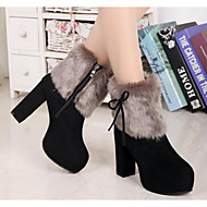 Women's Shoes Leather Nappa Leather Winter Snow Boots Fashion Boots Boots Chunky Heel Booties/Ankle Boots For Casual Black Blue