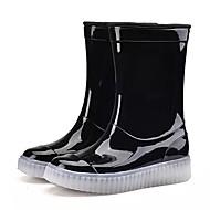 男の子 靴 PVCレザー 春 秋 レインブーツ ブーツ ミドルブーツ 用途 カジュアル ブラック レッド グリーン ブルー ピンク