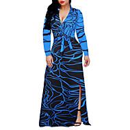 Feminino Bainha balanço Vestido,Tamanhos Grandes Para Noite Estampado Estampa Colorida Decote em V Profundo Longo Manga Longa Poliéster
