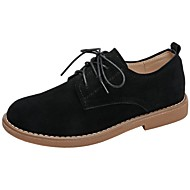 cheap Women's Oxfords-Women's Shoes Suede Fall / Winter Comfort Oxfords Lace-up for Outdoor Black / Khaki