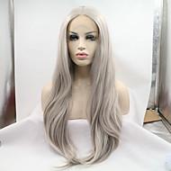 Kvinder Syntetiske parykker Blonde Front Glat Grå Natural Hairline Naturlig paryk kostume Parykker