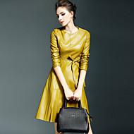 Χαμηλού Κόστους YHSP®-Γυναικεία Εξόδου Κομψό στυλ street Λεπτό Γραμμή Α / Θήκη Φόρεμα - Μονόχρωμο, Αγνό Χρώμα Ως το Γόνατο