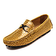 cheap Plus Size Shoes-Men's Shoes Leather Spring / Fall Comfort / Driving Shoes Loafers & Slip-Ons Black / Dark Blue / Yellow