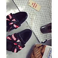 baratos Sapatos Femininos-Mulheres Sapatos Flocagem / Couro Ecológico Outono Conforto Chinelos e flip-flops Creepers Ponta Redonda Laço Preto / Cinzento