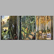 Hand-Painted Famous Horizontal Panoramic,Animals Rustic Three Panels Canvas Oil Painting For Home Decoration
