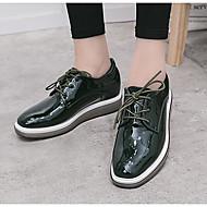 נשים נעליים PU אביב סתיו נוחות נעלי אוקספורד עבור קזו'אל שחור ירוק