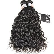 Virgem Cabelo Malaio Cabelo Humano Ondulado Ondas Leves Extensões de cabelo 3 Peças Preto