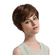 Kvinder Syntetiske parykker Lågløs Kort Glat Beige Highlighted/balayage-hår Side del Pixie frisure Naturlig paryk Kostumeparyk