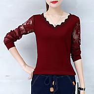 Mulheres Camiseta Renda Patchwork, Sólido Algodão Decote V