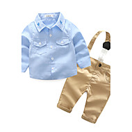 赤ちゃん 男の子 日常 純色 / 刺しゅう 長袖 コットン混 アンサンブル ブルー