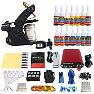Starter Tattoo Kit Tattoo Machine Minivirtalähde 14 x 5 ml Tattoo Ink 1 x alumiinikahva