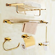cheap Bathroom Accessory Set-Bathroom Accessory Set Modern Style Brass 5pcs - Hotel bath Toilet Paper Holders / tower bar / tower ring Wall Mounted