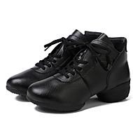 baratos Sapatilhas de Dança-Mulheres Tênis de Dança Couro Meia Solas Salto Personalizado Personalizável Sapatos de Dança Preto