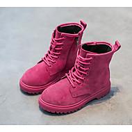 Para Meninas sapatos Pele Nobuck Outono Inverno Conforto Coturnos Botas Para Casual Preto Pêssego