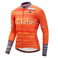 Miloto Homme Manches Longues Maillot Velo Cyclisme - Orange Cyclisme Maillot Hauts / Top Des sports Hiver Polyster VTT Vélo tout terrain Vélo Route Vêtement Tenue / Elastique