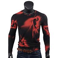 Majica s rukavima Muške,Ležerne prilike Dnevno Sport Print-Dugih rukava V izrez-Sva doba Pamuk