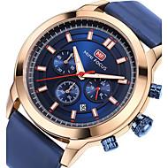 Herrn Sportuhr Modeuhr Armbanduhr Japanisch Quartz Kalender Stopuhr Nachts leuchtend Echtes Leder Band Luxus Freizeit Cool Schwarz Blau