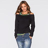 Mulheres Camiseta - Para Noite Básico Com Corte, Sólido Algodão Solto Verde L / Belas Stripe