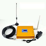 lcd display cdma 850mhz dcs 1800mhz mobiltelefon signal booster signal forsterker med pisk antenne / sucker antenne / dual band / golden