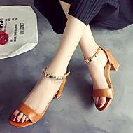 Damen Schuhe Gummi Sommer Komfort Sandalen Walking Block Ferse Schnalle Für Weiß Schwarz Braun