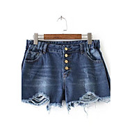 Feminino Cintura Média Micro-Elástica Jeans Shorts Calças,Solto Sólido