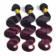 Human Hair Brazilian Ombre Hair Weaves Body Wave Hair Extensions 3pcs Black/Dark Wine