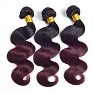 Натуральные волосы Бразильские волосы Естественные кудри Наращивание волос 3шт Черный / Темно-Вино